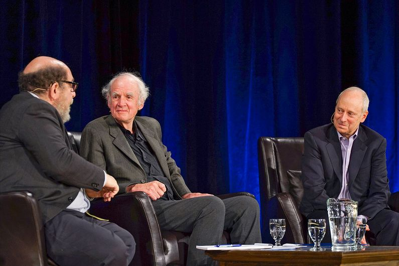 Daniel Weinstock, moderating, Charles Taylor and Michael J. Sandel.