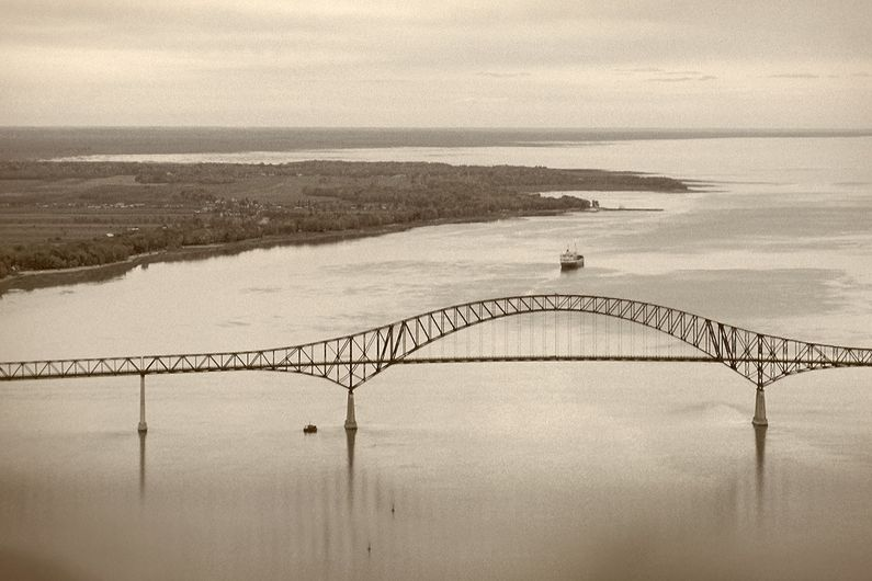 A view of the St. Lawrence River and the  Pierre Laporte Bridge between Quebec City and Lévis.