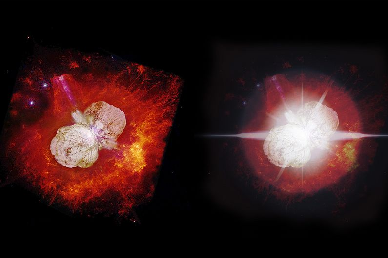 (L) A view of Eta Carinae by NASA's Hubble Space Telescope in 2000. (R) What the star could look like in 2032, when it overshadows  its nebula.