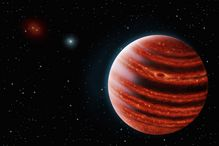 An artistic conception of the Jupiter-like exoplanet, 51 Eri b, seen in the near- An artistic conception of the Jupiter-like exoplanet, 51 Eri b, seen in the near-infrared light that shows the hot layers deep in its atmosphere glowing through clouds. Beca