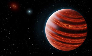 An artistic conception of the Jupiter-like exoplanet, 51 Eri b, seen in the near- An artistic conception of the Jupiter-like exoplanet, 51 Eri b, seen in the near-infrared light that shows the hot layers deep in its atmosphere glowing through clouds. Because of its young age, this young cousin of our own Jupiter is still hot and carries information on the way it was formed 20 million years ago. Credits: Danielle Futselaar & Franck Marchis, SETI Institute.