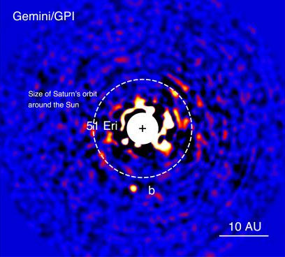 Discovery image of 51 Eri b with the Gemini Planet Imager taken in the near-infrared light on December 18 2014. The bright central star has been mostly removed by a hardward and software mask to enable the detection of the exoplanet one million times fainter. Credits: J. Rameau (iREx/UdeM) and C. Marois (NRC Herzberg)